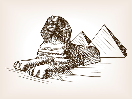 tomb: Egypt sphinx and pyramids sketch style vector illustration. Old hand drawn engraving imitation. Pharaoh tomb. Illustration