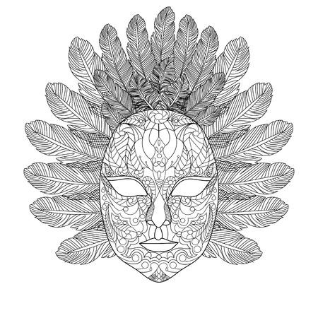 カーニバル マスク大人ベクトル イラストの塗り絵。大人のための着色抗ストレス。黒と白のライン。レース パターン