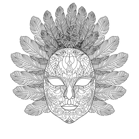 Het masker van Carnaval kleurboek voor volwassenen vector illustratie. Anti-stress-kleuring voor volwassen. Zwart en witte lijnen. kantpatroon