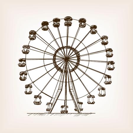 overlook: Ferris wheel sketch style vector illustration. Old hand drawn engraving imitation. Ferris wheel
