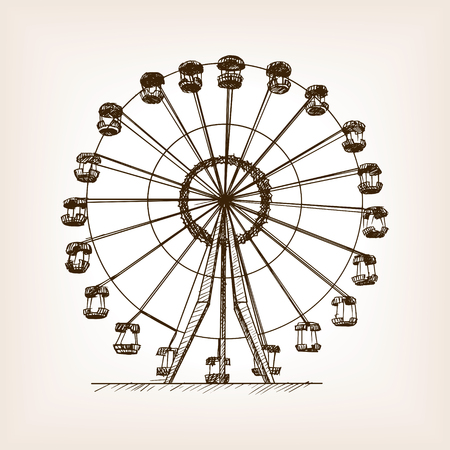 Ferris wheel sketch style vector illustration. Old hand drawn engraving imitation. Ferris wheel