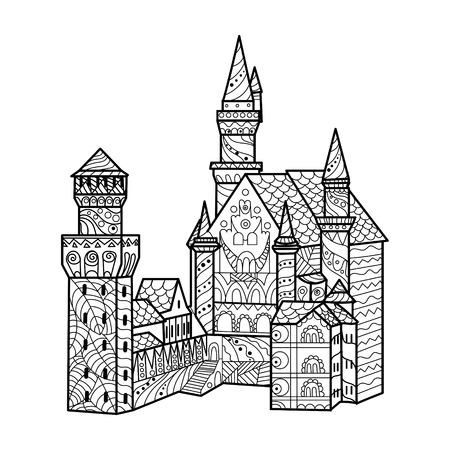 中世の城は大人ベクトル イラストの塗り絵。大人のための着色抗ストレス。 黒と白のライン。レース パターン