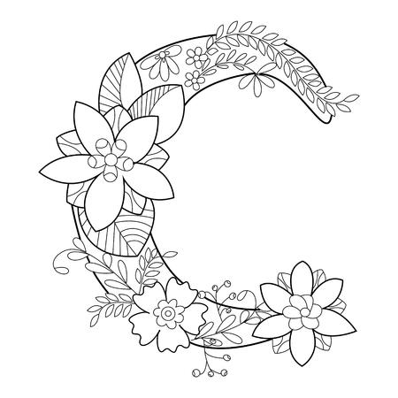 성인 벡터 일러스트 레이 션의 꽃 알파벳 문자 색칠하기 책. 성인 색칠 안티 - 스트레스. 스타일. 꽃 글꼴입니다. 검은 색과 흰색 선. 레이스 패턴 일러스트
