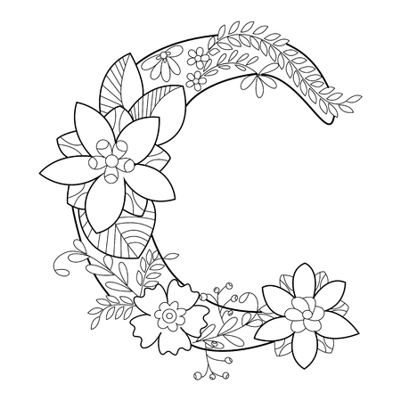 Floral alphabet letter coloring book for adults vector illustration. Anti-stress coloring for adult. style. Floral font. Black and white lines. Lace pattern Çizim