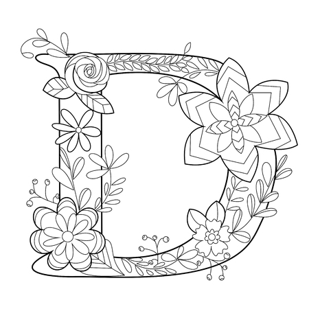 Floral alphabet letter coloring book for adults vector illustration. Anti-stress coloring for adult.   Floral font. Black and white lines. Lace pattern