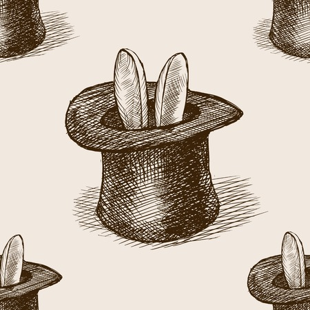 magician hat: Magician hat with bunny ears sketch style seamless pattern vector illustration. Old hand drawn engraving imitation. Magician hat