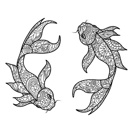 Koi carp fish coloring book for adults vector illustration. Anti-stress coloring for adult.   Black and white lines. Lace pattern