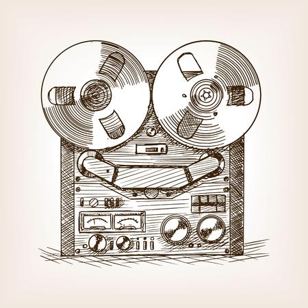 tape recorder: Tape recorder sketch style vector illustration. Old hand drawn engraving imitation. Illustration