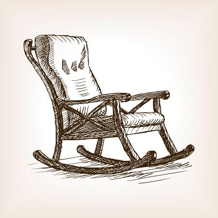 ロッキングチェア スケッチ スタイルのベクトル図です。古い彫刻の模倣。
