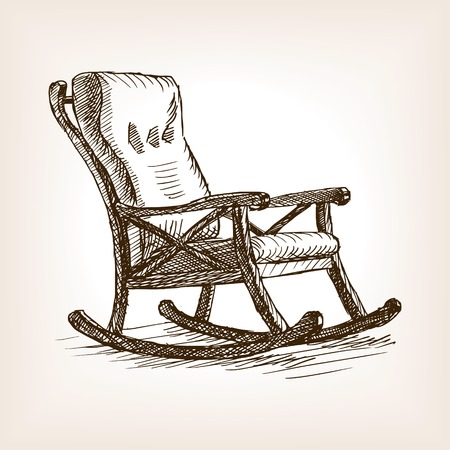 rough draft: Rocking chair sketch style vector illustration. Old engraving imitation.
