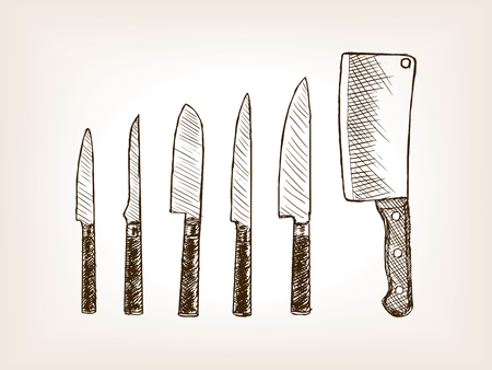 rough draft: Knife set sketch style vector illustration. Old engraving imitation. Illustration