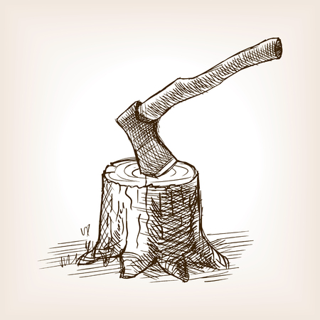 Axe in the stump sketch style vector illustration. Old engraving imitation. Vector Illustration