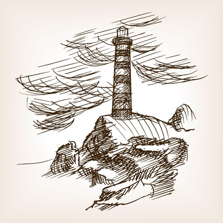 Lighthouse building sketch style vector illustration. Old engraving imitation.