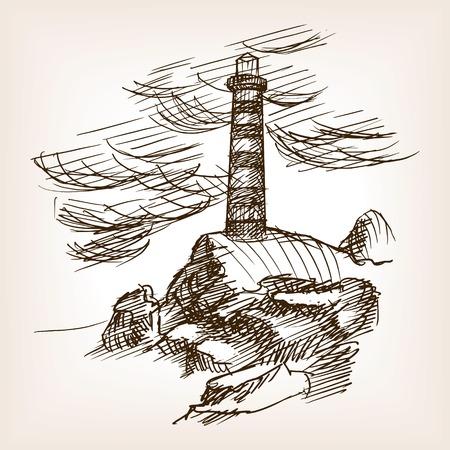 building sketch: Lighthouse building sketch style vector illustration. Old engraving imitation.