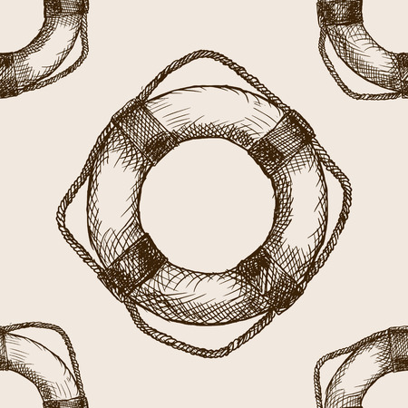 rough draft: Lifebuoy sketch style seamless pattern vector illustration. Old engraving imitation.