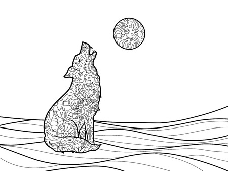 adults: Wolf coloring book for adults vector illustration. Illustration
