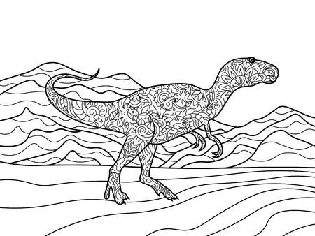 tyrannosaur: Tyrannosaurus coloring book for adults vector illustration. Illustration