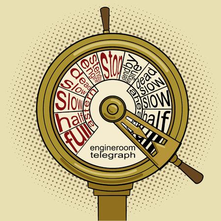 telegraph: Engine order telegraph pop art vector illustration. Vintage retro style. Conceptual illustration Illustration