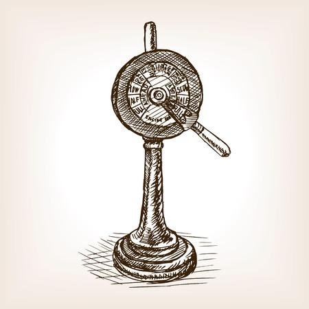 telegraph: Engine order telegraph sketch style vector illustration. Old hand drawn engraving imitation. Illustration