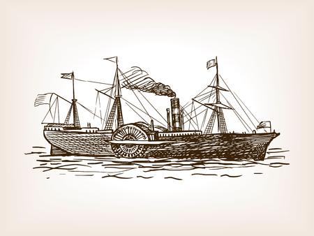 Stoomschip schets stijl vector illustratie. Oude hand getekende graveren imitatie. Stock Illustratie