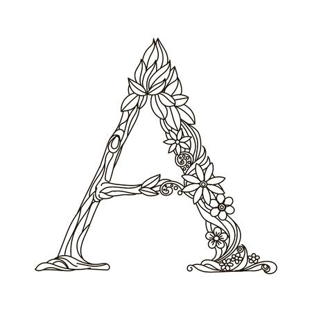Floral lettre de l'alphabet livre de coloriage pour les adultes illustration vectorielle. Banque d'images - 56080540