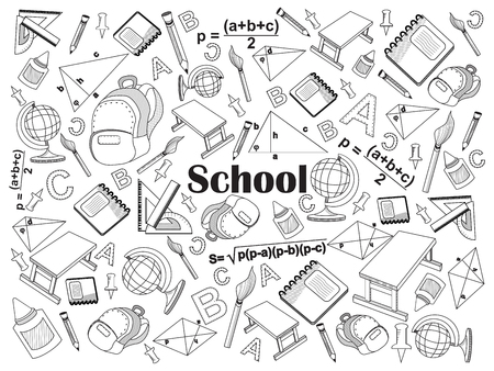 colorless: School design colorless set vector illustration. Coloring book. Black and white line art