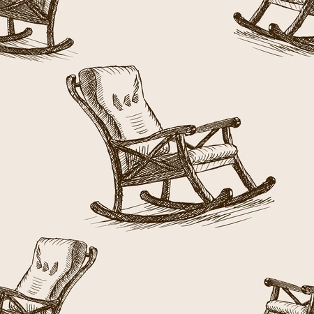 Rocking seamless style esquisse chaise illustration vectorielle. Ancienne gravure imitation. Vecteurs