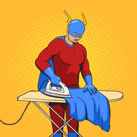 mantle: Superhero iron mantle cartoon pop art vector illustration. Illustration