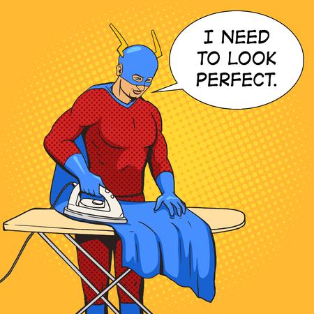 mantle: Superhero iron mantle cartoon pop art vector illustration. Human comic book vintage retro style.