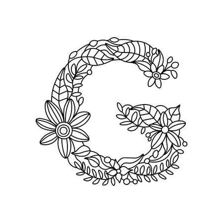 floral alphabet: Floral alphabet letter coloring book for adults vector illustration Illustration