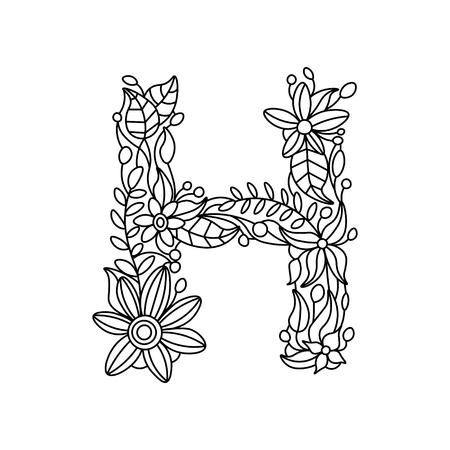 floral alphabet: Floral alphabet letter coloring book for adults vector illustration. Zentangle style. Floral font. Black and white lines. Lace pattern