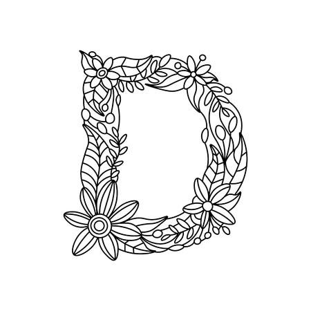 Floral alphabet letter coloring book for adults vector illustration. Vector Illustration