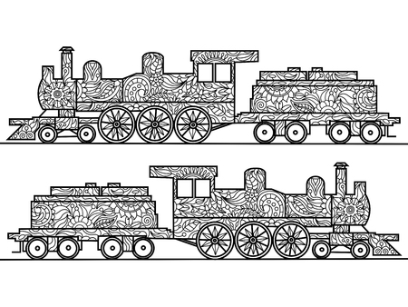steam locomotive: Steam locomotive coloring book for adults vector illustration.