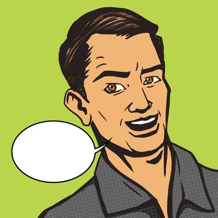 talks: Man talks pop art style vector illustration. Vintage retro style. Conceptual illustration