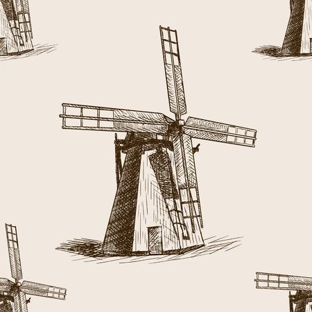grind: Windmill sketch style seamless pattern vector illustration. Old engraving imitation. Illustration