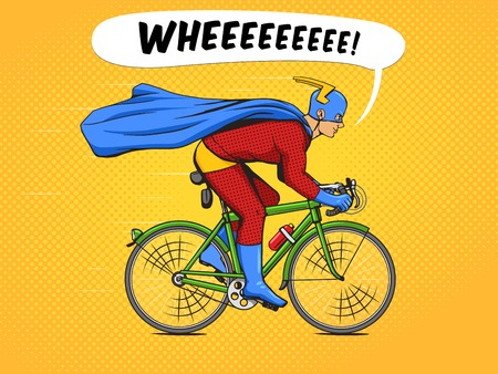 Superhero on a bicycle cartoon pop art vector illustration. Human comic book vintage retro style.