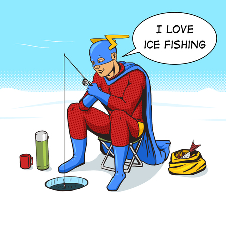 ice fishing: Superhero on ice fishing cartoon pop art vector illustration. Human comic book vintage retro style. Illustration