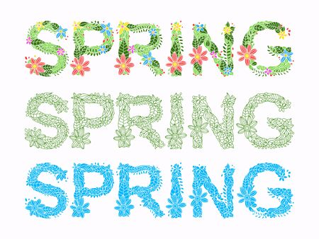 grass isolated: Word spring in floral font vector illustration Illustration