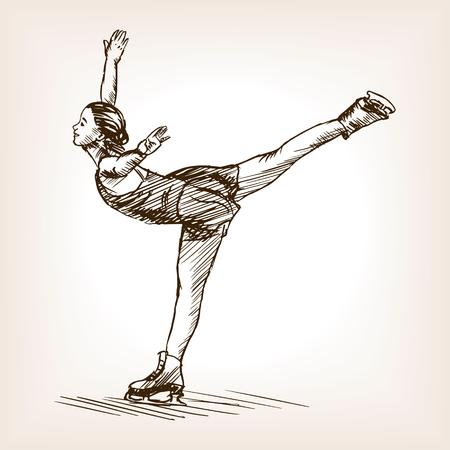figure skater: Figure skater girl sketch style vector illustration. Old hand drawn engraving imitation.