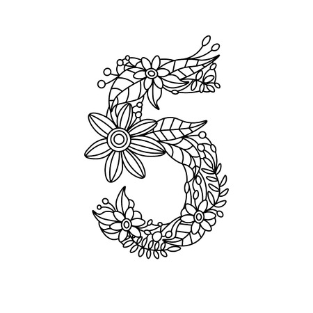 Floral Font Number Coloring Book For Adults Vector Illustration Stock
