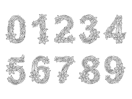 Floral font numbers coloring book for adults vector illustration.