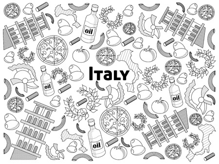 colorless: Italy design colorless set vector illustration. Coloring book. Black and white line art Illustration