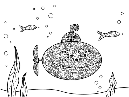 cartoon submarine: Cartoon submarine coloring book for adults vector illustration.   Black and white lines. Lace pattern
