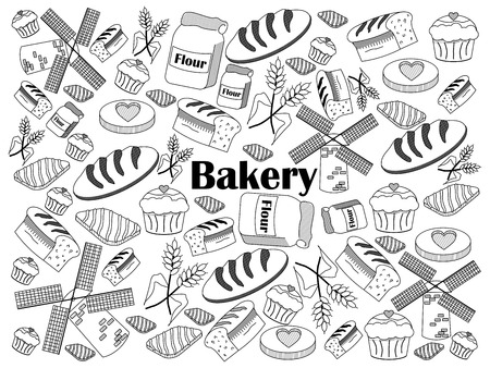 colorless: Bakery design colorless set vector illustration. Coloring book. Black and white line art Illustration