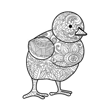 Chick livre de coloriage pour les adultes illustration vectorielle.