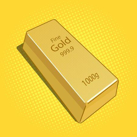 gold bar: Gold bar pop art vector illustration. Vintage retro style.