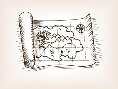宝の地図は、ベクトル イラストをスケッチします。古い彫刻の模倣。  イラスト・ベクター素材