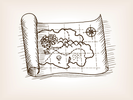 reference point: Treasure map sketch style vector illustration. Old engraving imitation.