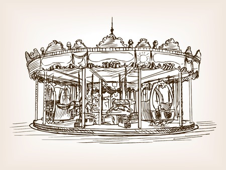 rough draft: Children carousel sketch style vector illustration. Old engraving imitation.