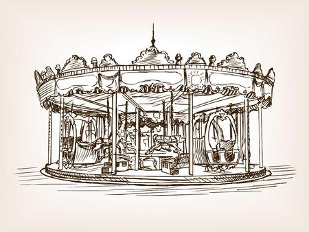 Children carousel sketch style vector illustration. Old engraving imitation.